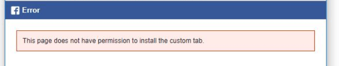 This page does not have permisssion to install the custom tab